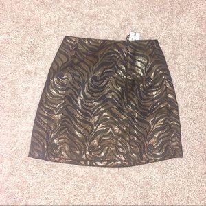NWT MinkPink Skirt - Print Gold & Black, Sz XS